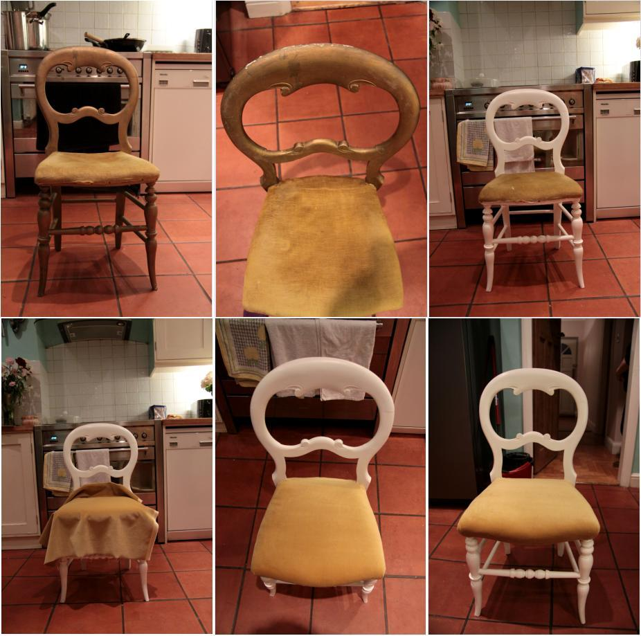 a damaged chair i got from a house clearance place. gave it a lick of paint, replaced the bottom, pushing the stuffing back inside and finally re-covered it with mustard velvet. :)