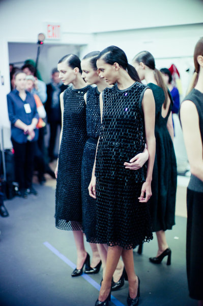 Kati Nescher, Zuzanna Bijoch, and Cora Emmanuelle backstage at Calvin Klein Fall 2012, New York