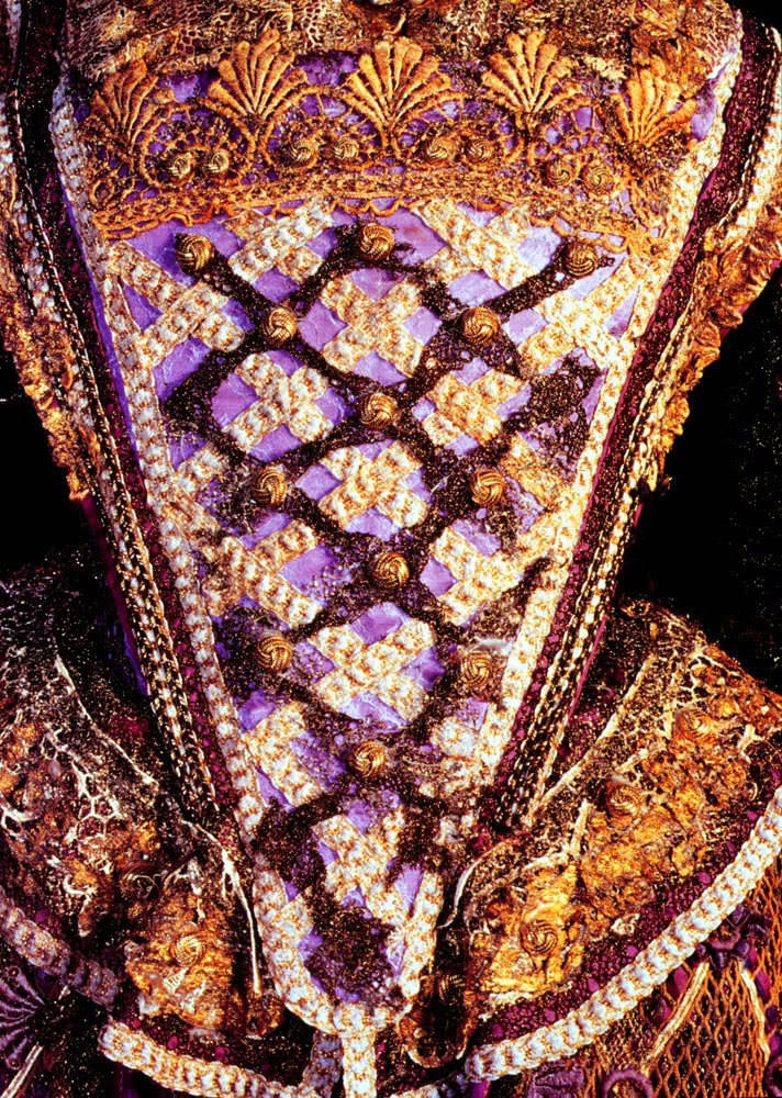 purple and gold bodice on dress from Gormenghast