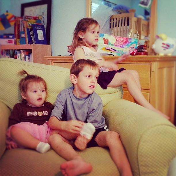 A rare moment which capturing all three sitting still.  (Taken with instagram)