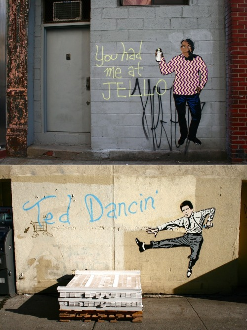 thedailywhat:  Street Art of the Day: In his first non-Tom-Hanks-themed wall pieces, Hanksy pays tribute to Bill Cosby and Ted Danson. [wooster.]