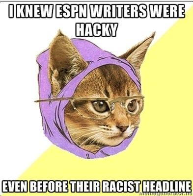 HIPSTER CAT MEME ON ESPN RACIST HEADLINE ON JEREMY LIN