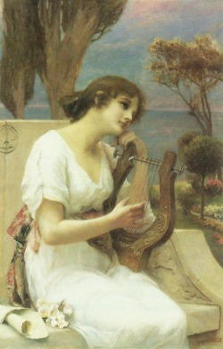 23silence:  Alfred Siefert (1850-1901) - Young lady playing a lyre