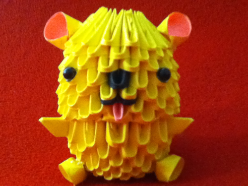 3D origami dark yellow bear! Exactly the same as the light yellow one.