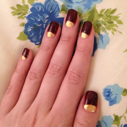 Attempt at half-moons without using the reinforcements trick. gold and maroon glitter (Milani Gold, Forever 21 glitter layered over Revlon Street Wear in Blood)