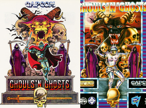 "Here's a comparison between the arcade Ghouls n Ghosts art, and the European box art that tried to make it more realistic/serious (or as it's also known as, ""Westernizing""). Every single decision the European artist made is puzzling. They gave Arthur future armor… Also, ""These skulls need more personality! They're practically dead in the other one!"" As I will show you later on this blog, Capcom made an unfortunate habit of this in Europe."