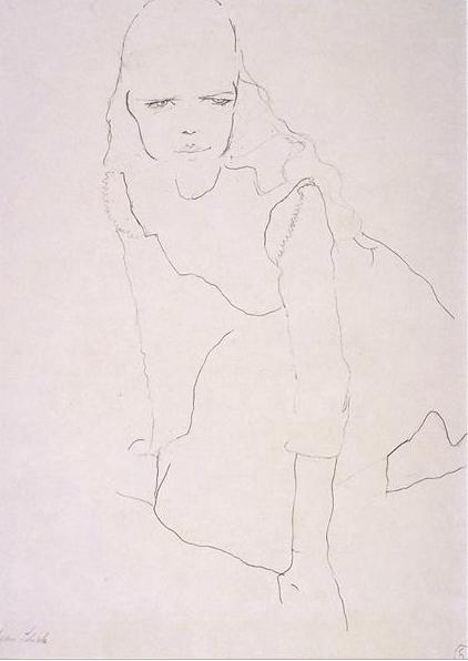 Egon Schiele, Kneeling girl, 1910