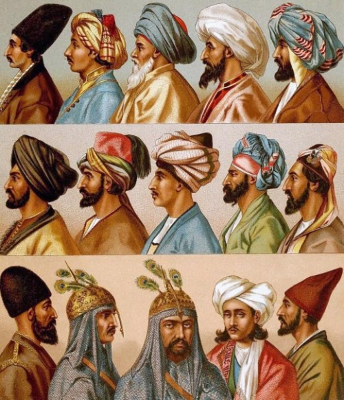 "rhea137:  Turban Styles - from ""Le Costume Historique"", 1888  Very cool!  Love the peacock feathers!"
