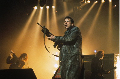 "The KLF at the Brit awards, 1992, from ""The 10 best Brit Award moments"" in the Guardian. You can see the video of how this all went down on YouTube and it's well worth a look."