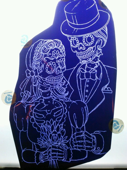 Stencil for a cool dia de Los muertos wedding tattoo.