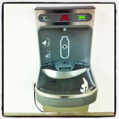 All drinking fountains should have this feature. Sign says: helped eliminate waste from 1,979 [and counting] disposable plastic bottles.