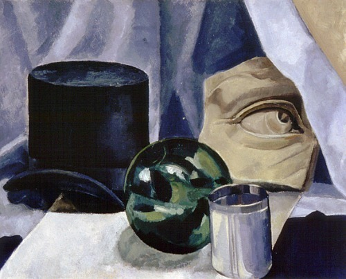 Bertram Brooker Still Life with Top Hat, Stone Fragment, Glass Ball and Tumbler 1931