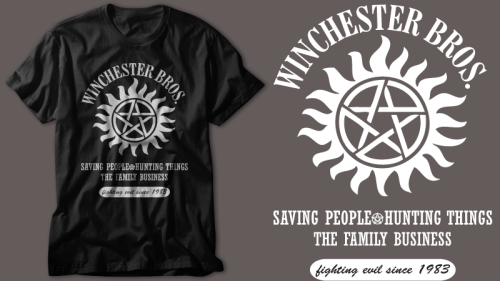 Thanks to everyone who voted for my Winchester Bros. design at OtherTees. I just found out that it's going to be printed in March and of course that means a t-shirt giveaway! So stay tuned and when the t-shirt goes on sale at Other Tees we'll have a giveaway for a some Winchester Bros. stickers!