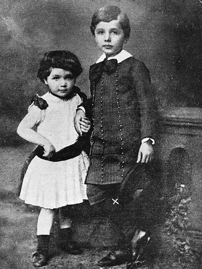 A childhood portrait of Albert Einstein and his sister Maja