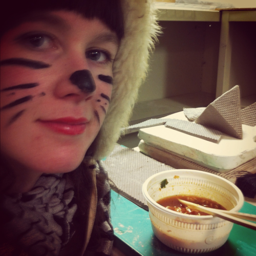 Football cat takes spicykimchinoodlebowl break in studio.