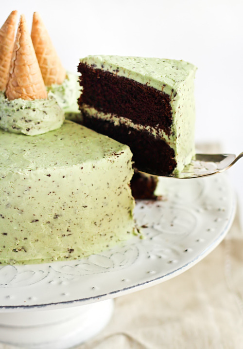 eathealthyrunfar:  Mint Chocolate Chip Cake.