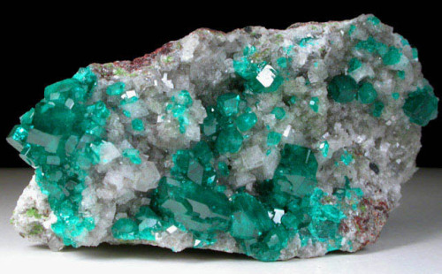 Dioptase on Calcite from Namibia by John Betts