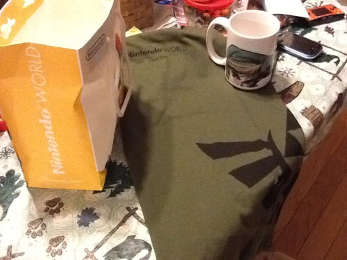 Spoils from the Nintendo World Store  ^___^  Nintendo World Hyrule crest t-shirt  Link Nintendo World mug