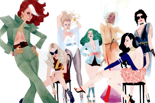 "Four-Color Fashionistas  via/by Kevin Wada:     I am back with another recent commission!  About damn time I say.  For    this piece, the client wanted to invoke true fashion editorial by way of    his favorite X-men women.  Vogue, Harper's, etc.  Strong poses, edgy    fashions, and smoldering stares.  The works basically.  I worked rather   large for this one, 20""x30"" and it was refreshing to work so large."