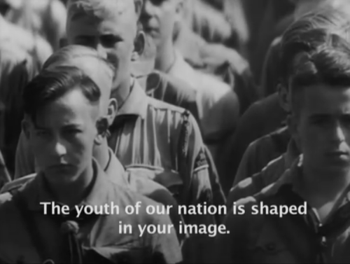 holocausthistory:  Hitler Youth at Nuremberg from Leni Riefenstahl's Triumph of the Will