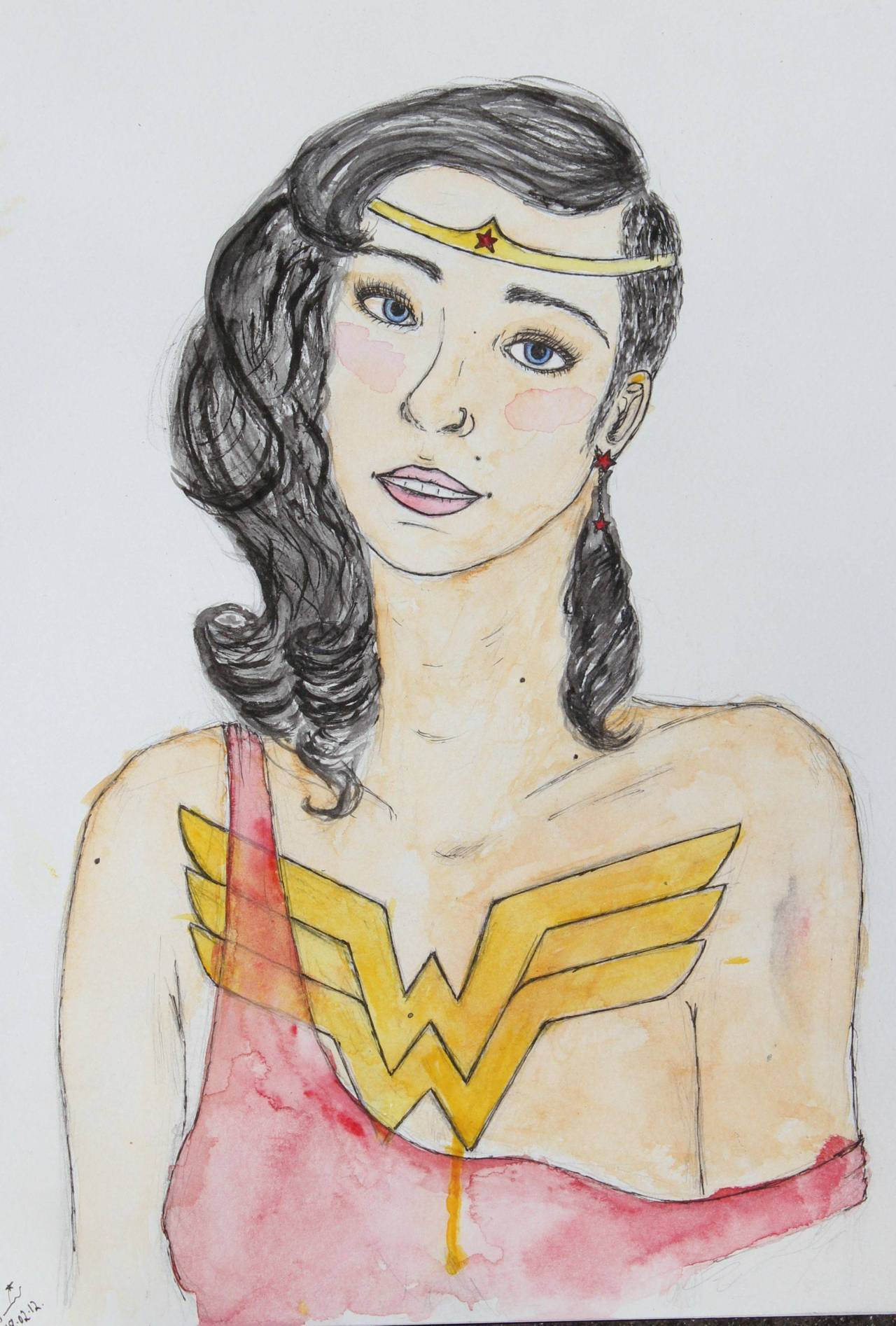 Wonder Women as I would love to see her. Painted version of my sketch from the day, I love watercolours when they're applied roughly but I'm still getting a feel for them. I'm pretty pleased with how this turned out, at least at the moment. (PS; I still want that tattoo)