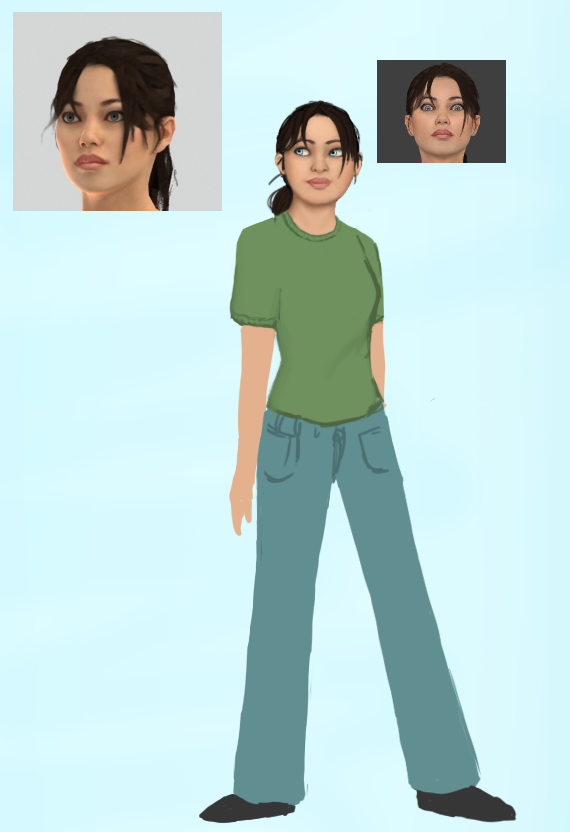Hopefully looks enough like Chell. This is part of a poster-like fan-art for Blue Sky. Might take a while to finish up though, it's quite large.