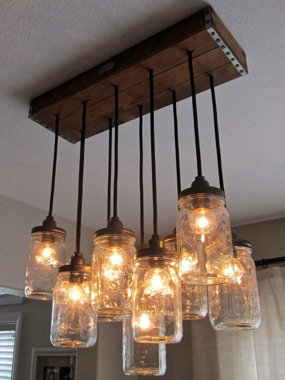 Handcrafted Mason Jar Pendant Chandelier Gorgeous chandelier with good old fashion rustic charm :) Oh, if I only had the money! [a product of Zoeveedesigns]