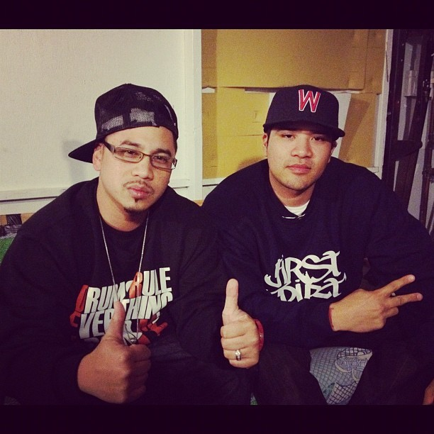 Me & @TimothyRhyme in the lab… || @Backhand_Ent / @FirstDirt Republic #teambackhand #firstdirt #Underground #Hiphop #WestCoast   (Taken with instagram)