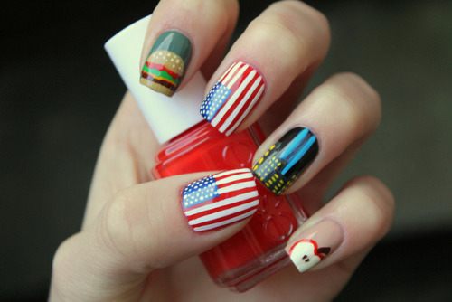 thenailbank:  Cute!  Wouldn't it be cool to do nails inspired by cities or countries? Paris nails, Italy, Texas…