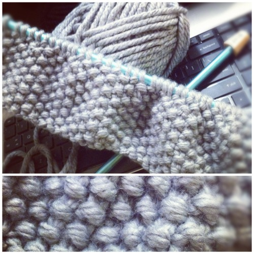 "knittomania:  Working on a Cowl scarf right now with Lion Brand ""Hometown USA"" super bulky yarn in dallas grey."