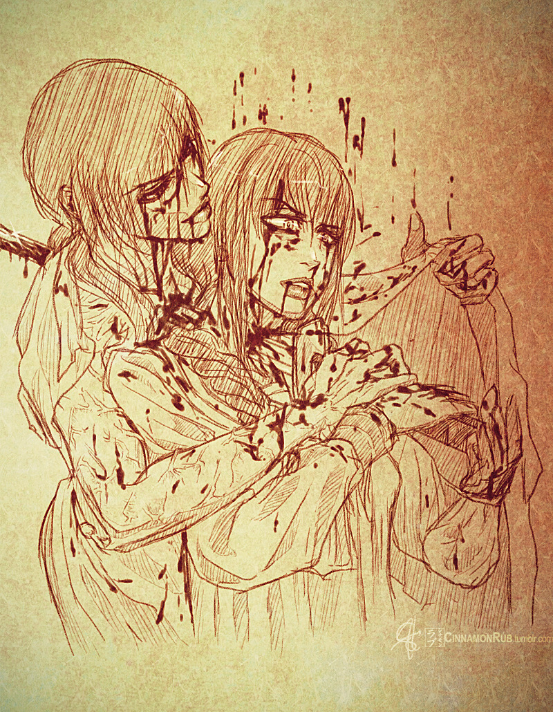 Sketch warmup. Saya and Maya from Blood: The Last Vampire 2000 Manga. A little bit of gore here~ @Pixiv
