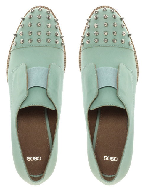 ASOS MITCHELL Leather Flat Shoes With Spike Detail current favorite color // marleighsea:larrie