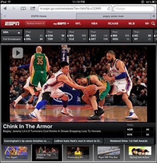 "ESPN calls Jeremy Lin a ""Chink in the Armor"" And then they really said it out loud."