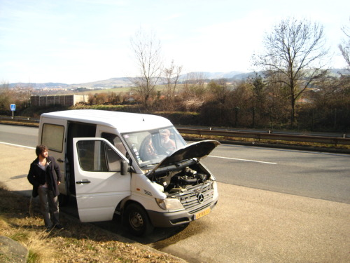 Our van broke down on the side of the road in France.  All repair joints nearby are closed for the weekend, so sadly we missed our show in Bordeaux last night.  Help is on the way though!
