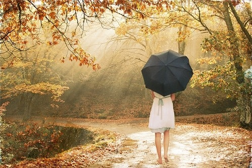 Girl, black umbrella, autumn, sunlight.