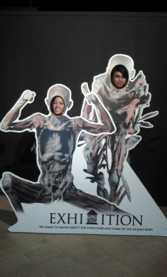 Me and Allen at the Myth of the Human Body exhibit this afternoon.  The exhibit had fascinating displays of plastinated human bodies. Some are sliced up in more ways than you can think of slicing a person.