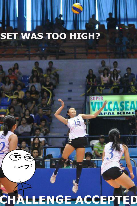 Fille definitely can Fly!!haha, the ball is high coz of the camera angle. :)Congratulations Lady Eagles! Goodluck sa Finals!soar high! ONE BIG FIGHT! :)