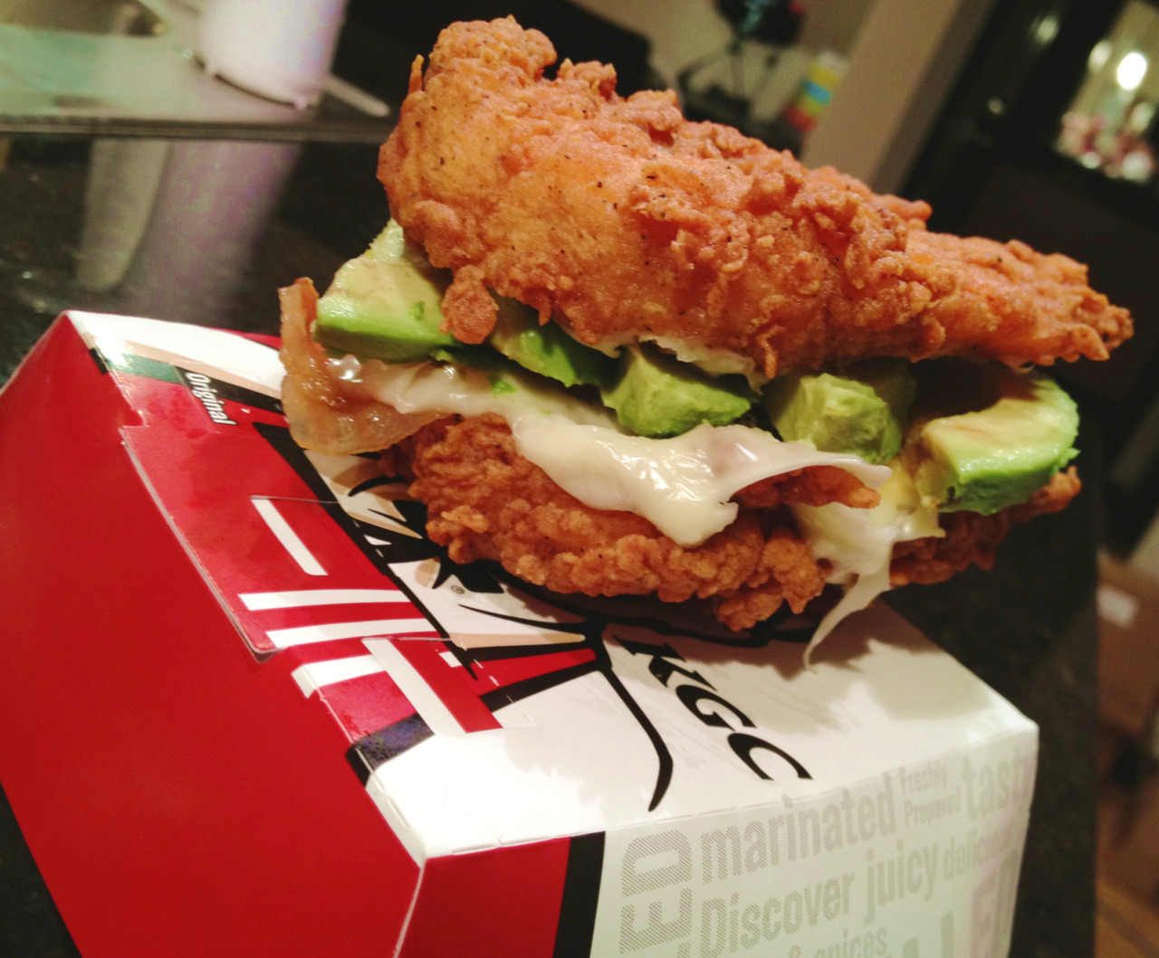 KFC Double Down sandwich with avocado.
