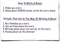 neil-gaiman:  How to Write a Novel. And you know, this is pretty much everything you need to know. The rest is detail, most of which is irrelevant…