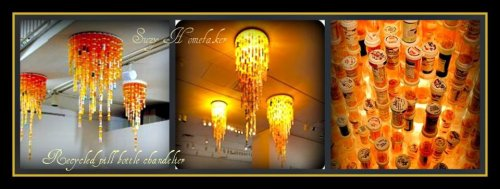 This is so cool! Recycled pill bottle chandelier. :)
