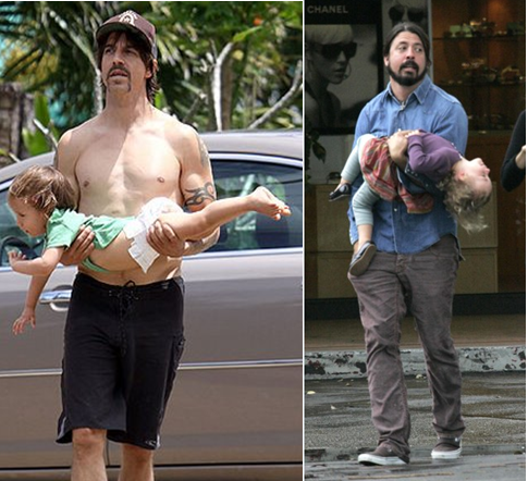 kdellavecchia:   how to hold your kid - tutorial by Dave Grohl & Anthony Kiedis  This is how I hold my little cousins   Ahahhahaha