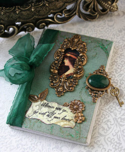 outlawempress:  My Heart via WHEREVER YOU GO altered Victorian book blank mini journal by  The Victorian Garden