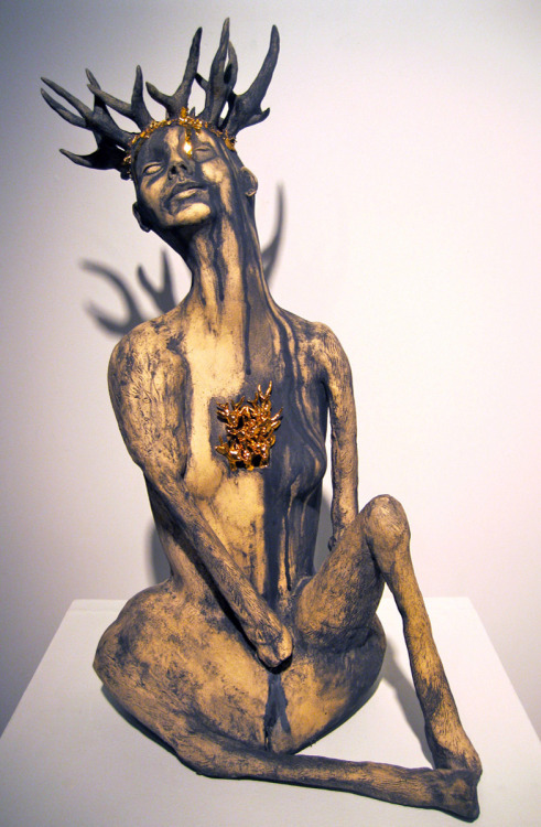 "Kimberly Cook: Trophy, 35"" x 23"" x 20"", ceramic, mason stain, gold luster, 2011"