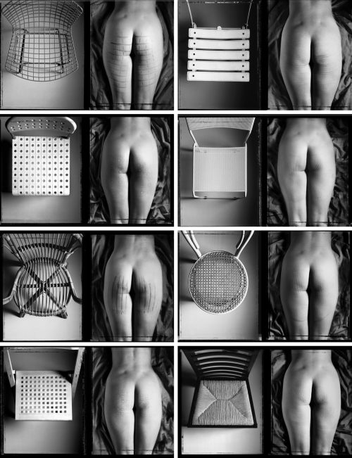 Reaction of design chairs on the derrière by Gabriele Basilico c. 1984, points out that Bertoia's wire chair causes the greatest psychological attraction which leads to the greatest physical reaction.