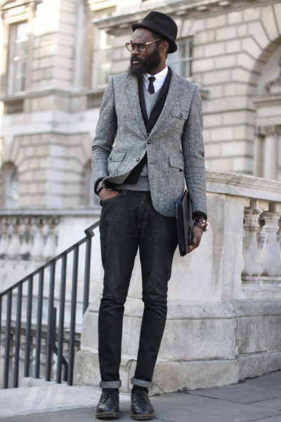 urbanemenswear:  streets-of-style:  London Fashion Week 2012  Killing it, like always. - look at that layering…