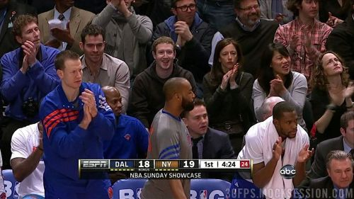 sportsnetny:  Mark Zuckerberg at today's Mavs - Knicks game (Via 30fps)   Facebook!!!