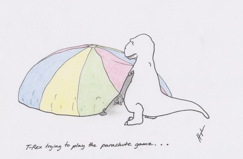 trextrying:  T-Rex Trying to Play the Parachute Game… #TRexTrying