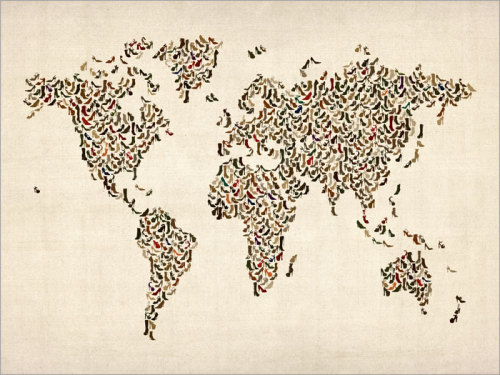 Ladies Shoes Map of the World Map Art Print by artPause on Etsy
