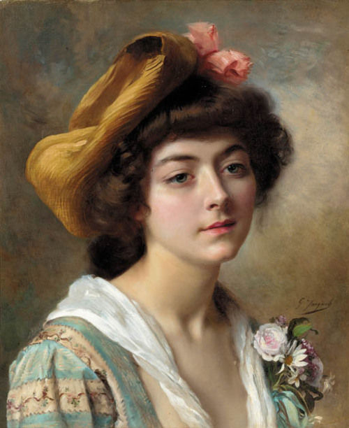 poboh:  Gustave Jean Jacquet. French (1846-1909)  I like the top (blouse?) she's wearing. Quirky prints are my thing!