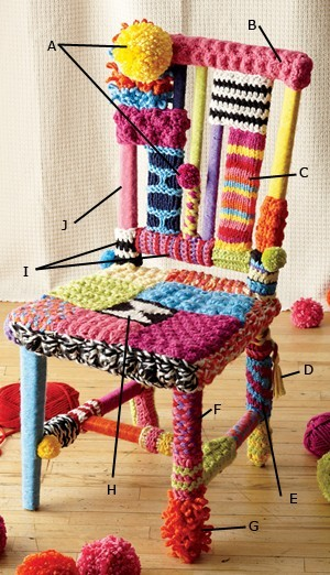 crafty-licious:  sarastexturecrafts:  wattlebirdblog:  How to yarnbomb a chair via Lion Brand Yarn  A great way to use yarn scraps!  …I really want to do this. I wonder if my husband would let me use one of our old, damaged kitchen chairs?  Is it bad that I think this is kinda ugly, but that's EXACTLY why I love it and NEED to start construction on my own asap.